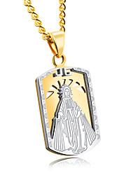 Rectangular army card titanium steel man necklace Notre Dame ornamental space golden pendant