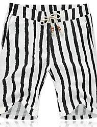 Men's Mid Rise Inelastic Shorts Pants,Active Simple Loose Striped