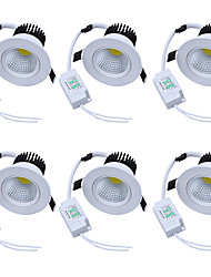 6pcs/lot Round Recessed LED Downlight AC 85-265V COB LED Spot Lamp 5W Angle Adjustable Ceiling Downlight for Home/Office