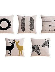 cheap -5 pcs Linen Pillow case Sofa Cushion Travel Pillow Body Pillow Bed Pillow Pillow Cover, Black & White Graphic Prints Animal Artistic