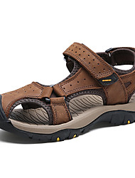 cheap -Men's Shoes Nappa Leather Summer Fall Comfort Sandals Water Shoes Magic Tape for Outdoor Light Brown Dark Brown Khaki