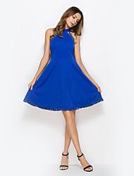 abordables -Mujer Vaina Vestido Un Color Tiro Alto Escote Chino