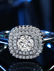 preiswerte -Damen Ring Kubikzirkonia Silber Kubikzirkonia Platin Quadratisch Klassisch Elegant Hochzeit Jahrestag Party Verlobung Alltag Zeremonie