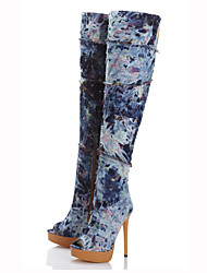 cheap -Women's Peep Toe High Heel Platform Knee High Denim Boots Ladies Long Jeans Boots Zipper Spring Autumn Shoes