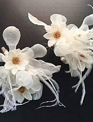 economico -stile elegante del copricapo della clip dei capelli dei fiori netti della piuma del tessuto della piuma di Tulle