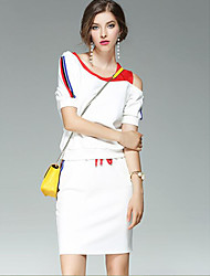 abordables -Mujer Camiseta - Un Color, Estampado Falda / Primavera / Verano