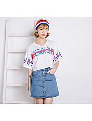 preiswerte -Damen Freizeit Alltag Mini Röcke A-Linie, Baumwolle / Nylon mit einem Hauch von Stretch Solide Sommer