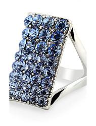 abordables -Femme Plaqué or Bague - Carré Mode Bleu Bague Pour Soirée / Anniversaire / Quotidien
