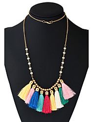 Women's Choker Necklaces Pendant Necklaces Statement Necklaces Basketwork Metal Alloy Resin Tassels Rainbow Turkish Costume Jewelry