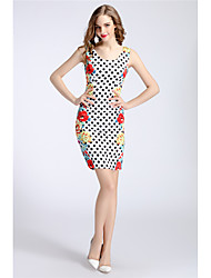 cheap -MARCOBOR Women's Party Cute Casual Sheath Dress,Polka Dot Round Neck Above Knee Sleeveless Polyester Summer Mid Rise Inelastic Medium