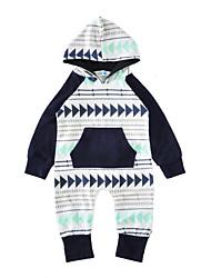 baratos -bebê Crianças Peça Única Inverno Primavera/Outono Algodão Manga Longa Azul Claro