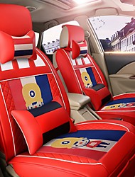Car Seat Cushion Car Seat Cover Family Car Leather Seat Cover Four General--French Red