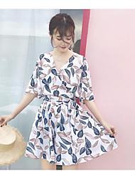 Damen Muster Mit Mustern Normal T-Shirt-Ärmel Kleid Anzüge,V-Ausschnitt Sommer ¾ Ärmel