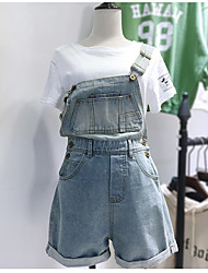 Недорогие -Жен. Большие размеры Комбинезоны - Мода, Чистый цвет С высокой талией На бретелях