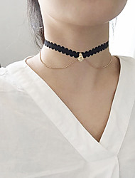 cheap -Women's Vintage Fashion Euramerican Choker Necklace Rhinestone Lace Alloy Choker Necklace , Party