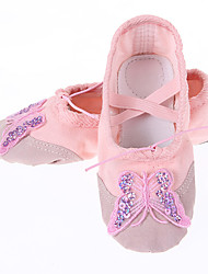 cheap -Women's Kids' Dance Shoes Canvas Fabric Flat Practice White Red Pink