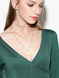 Жен. Ожерелья-бархатки Ожерелья с подвесками Ожерелья-цепочки Обсидиан Мода По заказу покупателя Multi-Wear способы Euramerican