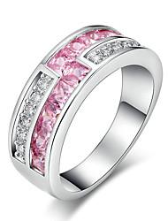 preiswerte -Damen Ring Kubikzirkonia Strass Kreisförmiges Elegant bezaubernd Kubikzirkonia Platin Kreisförmig Modeschmuck Hochzeit Jahrestag Party