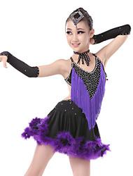 Danse latine Robes Femme Spectacle Spandex Plumes 4 Pièces Sans manche Taille haute Robes Bracelets Tour de Cou