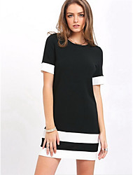 Women's Casual/Daily Little Black Dress,Solid Color Block Round Neck Above Knee Half Sleeve Cotton Spring Mid Rise Micro-elastic Medium