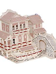 baratos -Quebra-Cabeças 3D Quebra-Cabeça Modelos de madeira Brinquedos de Montar Construções Famosas Arquitetura Chinesa Arquitetura 3D Simulação