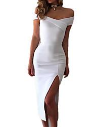 cheap -Women's Daily Casual Bodycon Dress,Solid Strapless Midi Sleeveless Cotton Summer Mid Rise Inelastic Medium