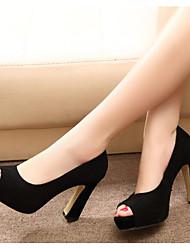 baratos -Mulheres Sapatos Couro Couro Ecológico Inverno Outono Conforto Plataforma Básica Saltos para Casual Preto