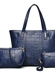 preiswerte -Damen Taschen PU Bag Set Reißverschluss für Normal Büro & Karriere Ganzjährig Blau Schwarz Rote Grau