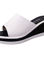 Women's Slippers & Flip-Flops Comfort Light Soles PU Summer Casual Dress Wedge Heel White Black Under 1in