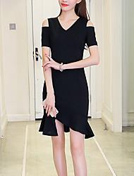 Women's Going out Casual/Daily Sexy Cute Sheath Dress,Solid V Neck Knee-length Asymmetrical Short Sleeve Polyester Summer Fall Mid Rise