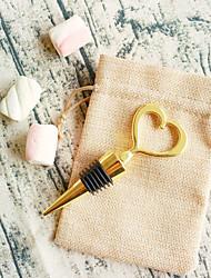 Недорогие -сердце из золотой бутылки открывалка в мешковине мешок beter gifts® indian diy groomsman / bachelor wedding favor