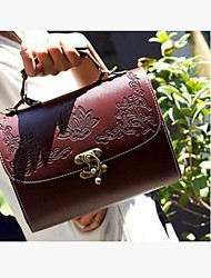 cheap -Women Bags PU leatherette Tote Buttons for Casual Outdoor Summer All Seasons Black Red