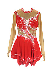 cheap -Figure Skating Dress Women's Girls' Ice Skating Dress Red Spandex Rhinestone High Elasticity Performance Skating Wear Handmade Jeweled