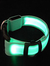 Dog Collar Portable LED Light Adjustable Solid Nylon Yellow Green Light Blue