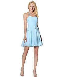 abordables -Halter de la princesa corto / mini vestido de la dama de honor de la gasa con el drapeado lateral
