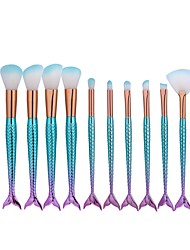 cheap -10pcs Professional Makeup Brushes Foundation Brush / Fan Brush / Eyeshadow Brush Nylon Cute / Mermaid / Full Coverage Aluminium Eye /