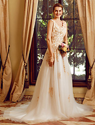 cheap -A-Line Straps Court Train Lace Tulle Custom Wedding Dresses with Appliques Buttons Crystal Detailing by LAN TING BRIDE®
