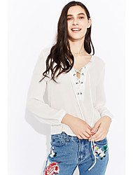 cheap -Women's Going out Beach Casual Street chic Blouse,Solid V Neck Long Sleeves Polyester