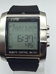 Hombre Reloj Deportivo Digital Mando a Distancia Calendario alarma Cronómetro Noctilucente Silicona Banda Casual Cool Negro