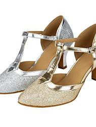 """cheap -Women's Modern Glitter Sandal Performance Paillette Cuban Heel Gold Silver 2"""" - 2 3/4"""" Customizable"""