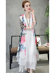 Women's Casual/Daily Chinoiserie Summer Cloak/Capes,Geometric Stand ¾ Sleeve Long Polyester