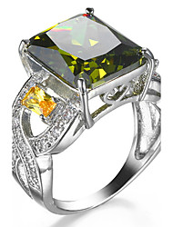 cheap -Ring Women's Euramerican Luxury Elegant Square Olive Green Rhinestone Zircon Ring Daily Movie Party Gift Jewelry