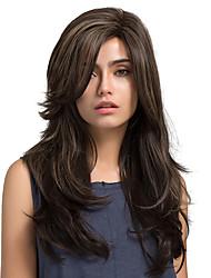 billige -Syntetiske parykker Dame Naturligt, bølget hår Brun Syntetisk hår Brun Paryk Lang Lågløs Mørk Aske Blond MAYSU