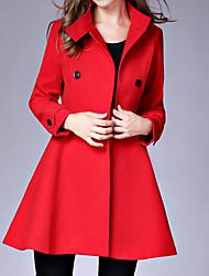 preiswerte -Damen Solide Einfach Lässig/Alltäglich Mantel,Ständer Herbst Winter Lange Ärmel Standard Nylon