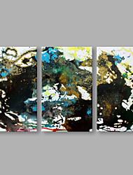 economico -Dipinta a mano Astratto Orizzontale, Artistico Tela Hang-Dipinto ad olio Decorazioni per la casa Tre Pannelli