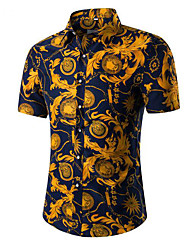 Недорогие -Для мужчин На каждый день Офис Рубашка Рубашечный воротник,Простое Однотонный С короткими рукавами,Хлопок Другое