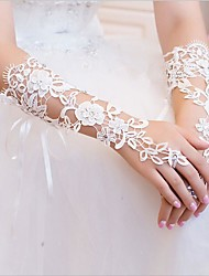 cheap -Lace Elbow Length Glove Bridal Gloves With Rhinestone Appliques Floral