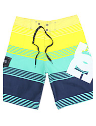 Men's Quick-Drying Breathable Bottoms Striped Print Beach/Swim Shorts Polyester Summer Blue/Green/Red