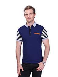 cheap -Men's Daily Plus Size Casual Summer Polo,Striped Color Block Shirt Collar Short Sleeves Cotton Spandex Medium