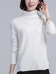Standard Cashmere Da donna-Casual Semplice Tinta unita A collo alto Manica lunga Altro Autunno Inverno Medio spessore Elasticizzato
